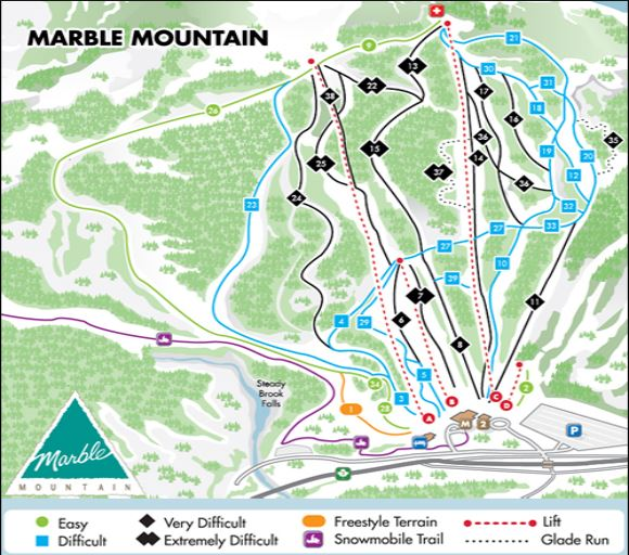 Marble Mountain Trail Map Skiing Snowboarding Escape2ski