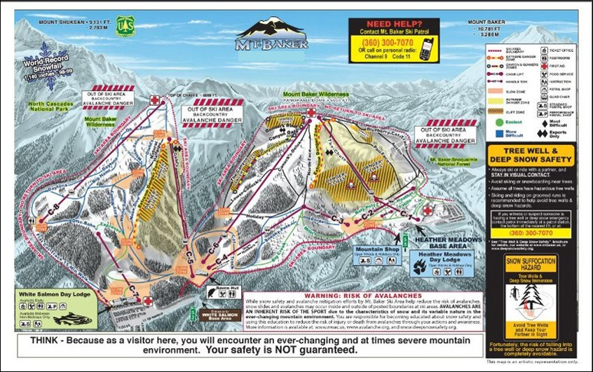 Mt Baker Trail Map Skiing Snowboarding Escape2ski