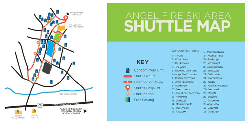 Angel Fire Resort Transit Map | Ski Angel Fire | Ski New Mexico | Angel Fire | United States | Escape2ski | skiing | snowboarding | ski information | ski resort listings | ski vacations | snow reports | Tourism New Mexico | ski resorts | skiing websites | transit maps | ski area listings | United States Ski Areas | ski areas | Angel Fire Transportation