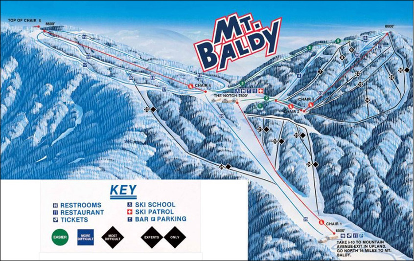 Mt Baldy Trail Map Skiing Snowboarding Escape2ski