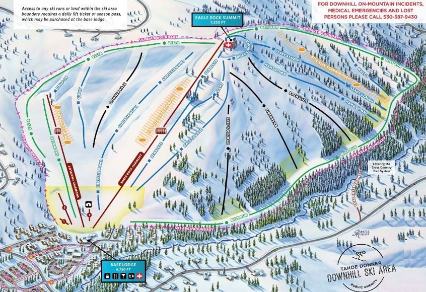 Tahoe Donner Ski Area Trail Map | Tahoe Donner Ski Area | Tahoe Donner | Escape2ski | Truckee, California | Lake Tahoe | Tourism Lake Tahoe | Tourism California | Ski Lake Tahoe | Find Ski Resorts in Lake Tahoe
