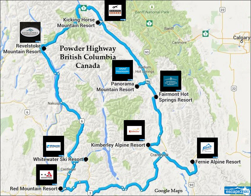 Plan a ski trip to the Powder Highway | Ski the Powder Highway | Escape2ski | Powder Highway Map | Fernie Alpine Resort | Revelstoke Mountain Resort | Kicking Horse Mountain Resort | Panorama Mountain Resort | Fairmont Hot Springs Resort | Kimberley Alpine Resort | Red Mountain Resort | Whitewater Ski Resort | Destination BC | Tourism British Columbia | Ski Canada Magazine | Ski.com | Skiing Magazine | Ski Magazine